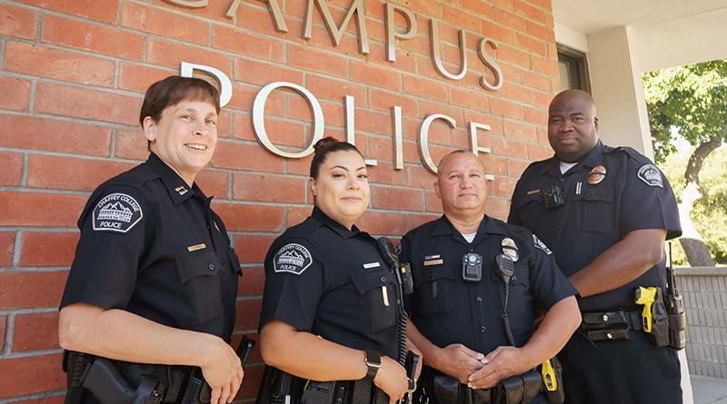Chaffey Police Officers in front of Campus Police Office