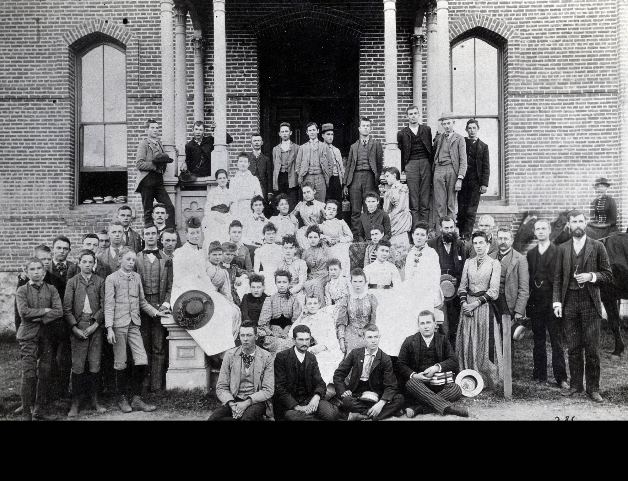 A black and white photo of Chaffey students in 1890.