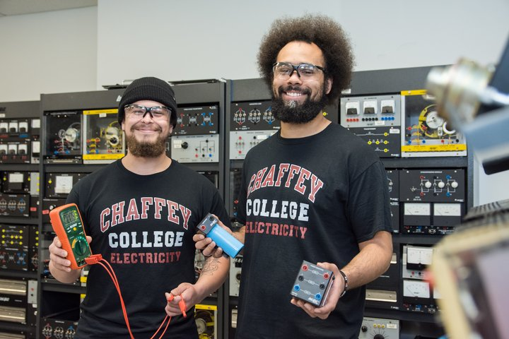 Students in the industrial electrical technology program pose with equipmet.