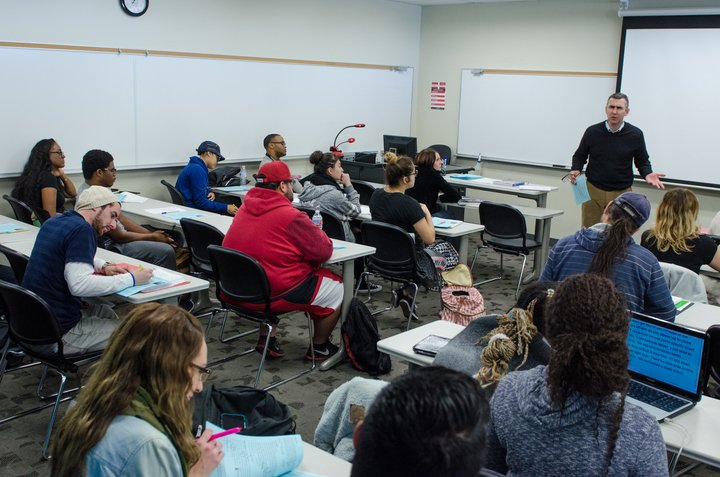 Students attend a class at Chaffey College.