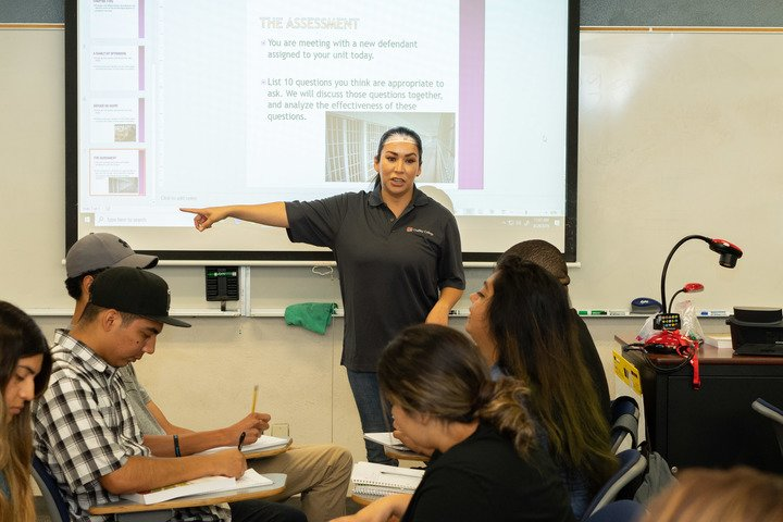 Students attend a criminal justice class.