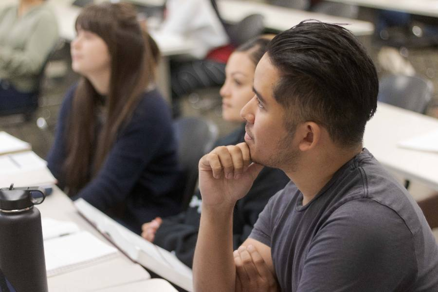 A student observes a lecture at Chaffey College.