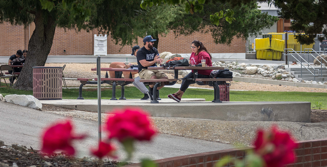 Students gather on campus to chat.