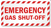 Emergency Gas shut-off sign