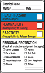 Hazard chemistry labels