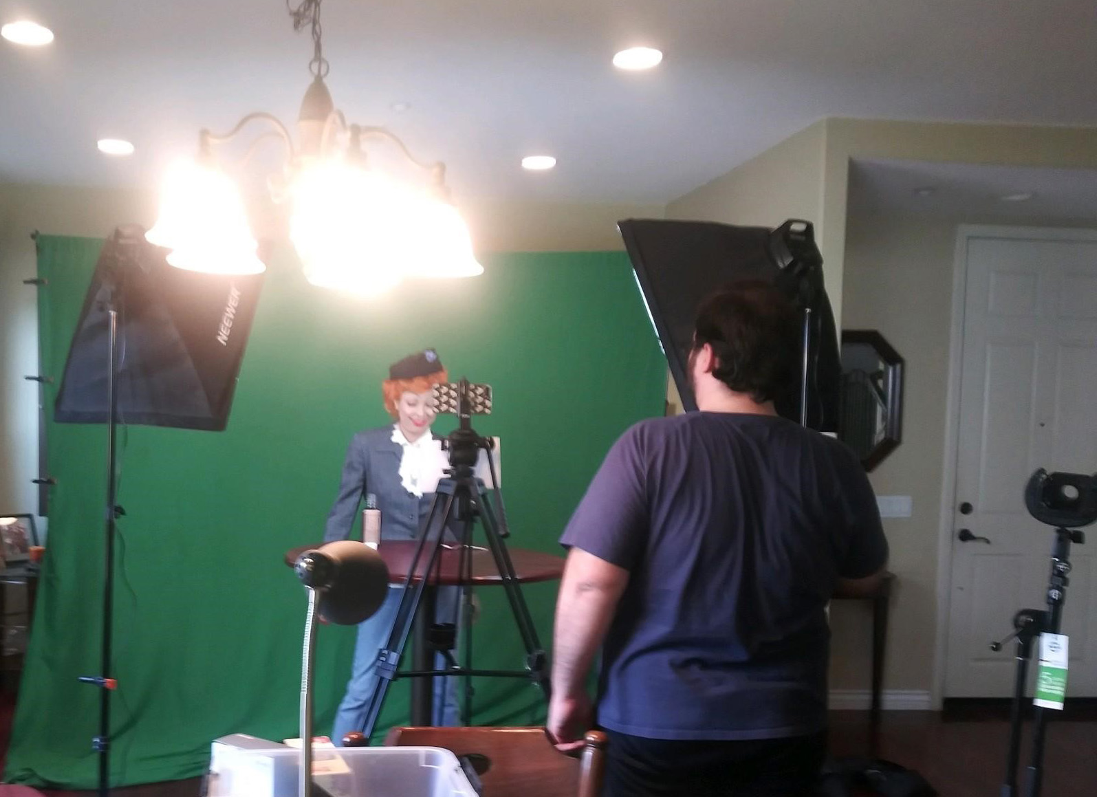 A student films her role as Lucille Ball at home.