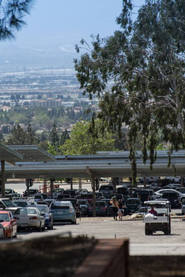 Vehicles fill the parking lot at the Chaffey College Rancho Cucamonga campus