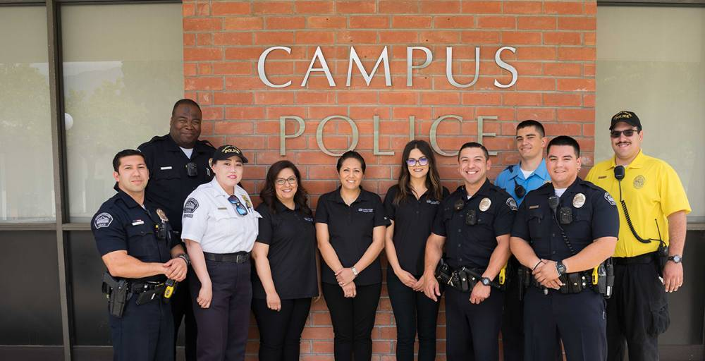 Police Group 2019 - Employees of the Chaffey College Police Department pose in front of the station at the Rancho Cucamonga campus