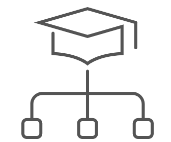 Organizational chart below a graduation cap